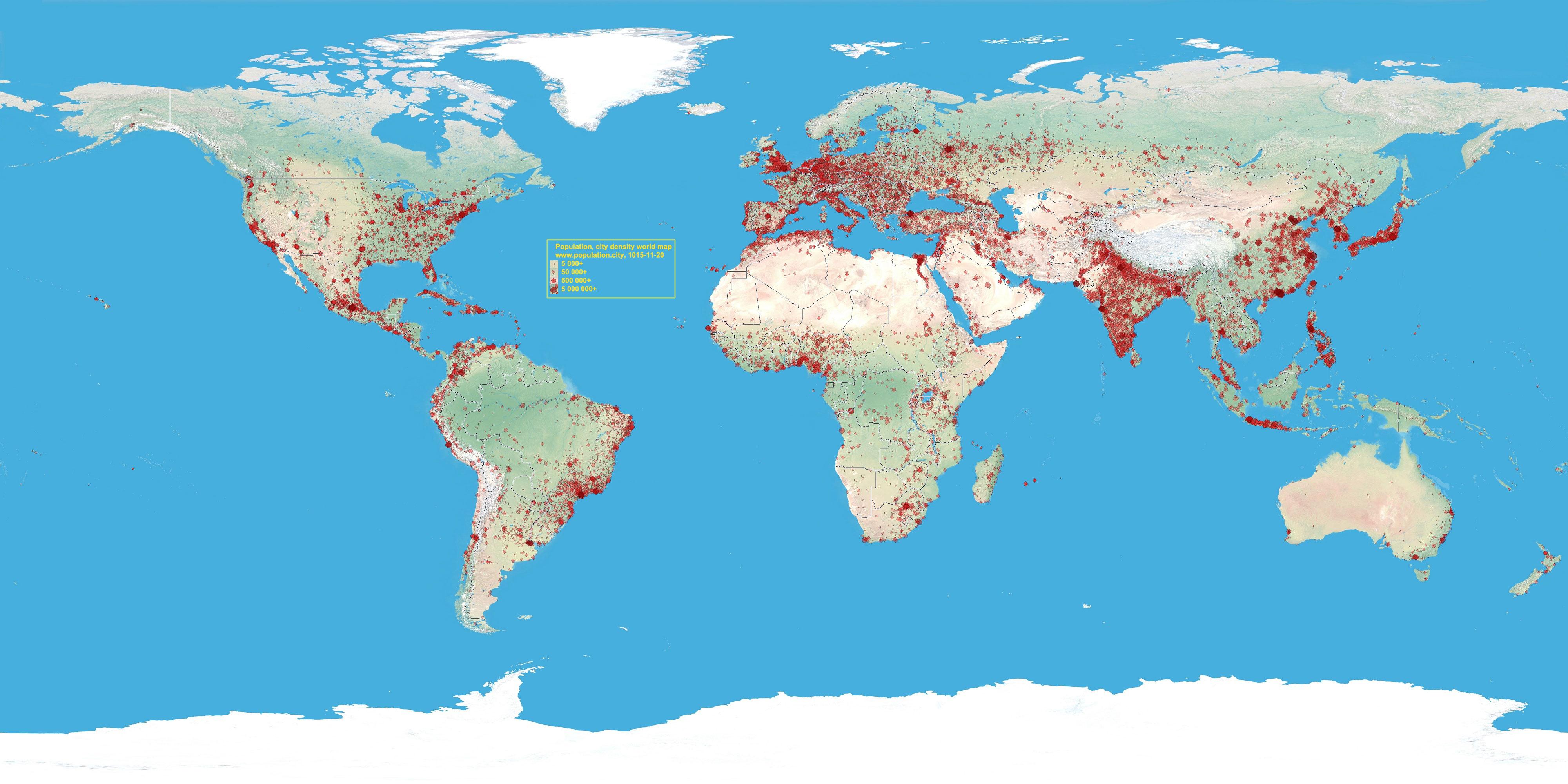 népsűrűség térkép Világ: Népesség 2019